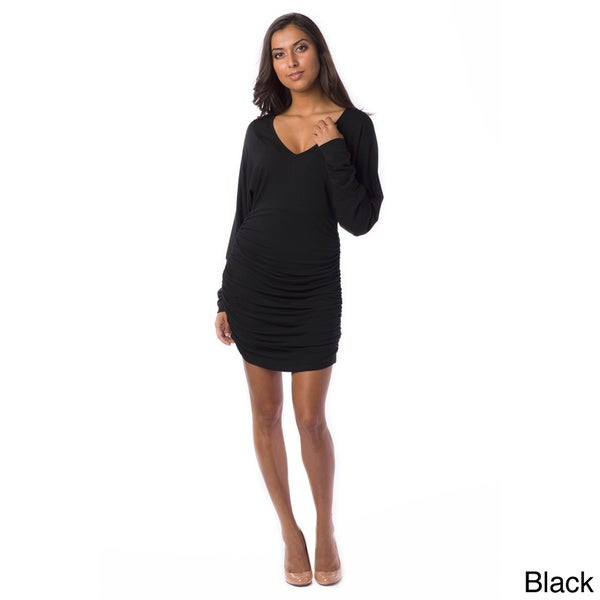 AtoZ Women's Ruched Batwing V-neck Dress