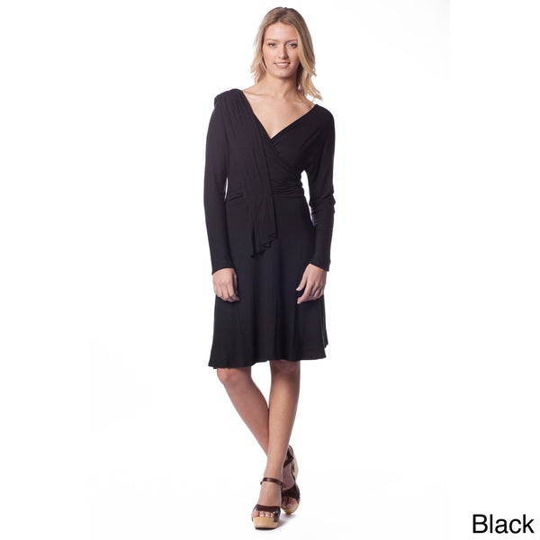 AtoZ Women's Draped Long-sleeve Dress