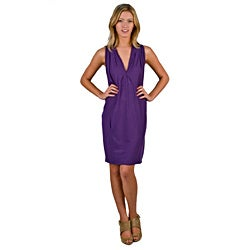 AtoZ Women's 'Runway' Grape V-neck Sleeveless Dress