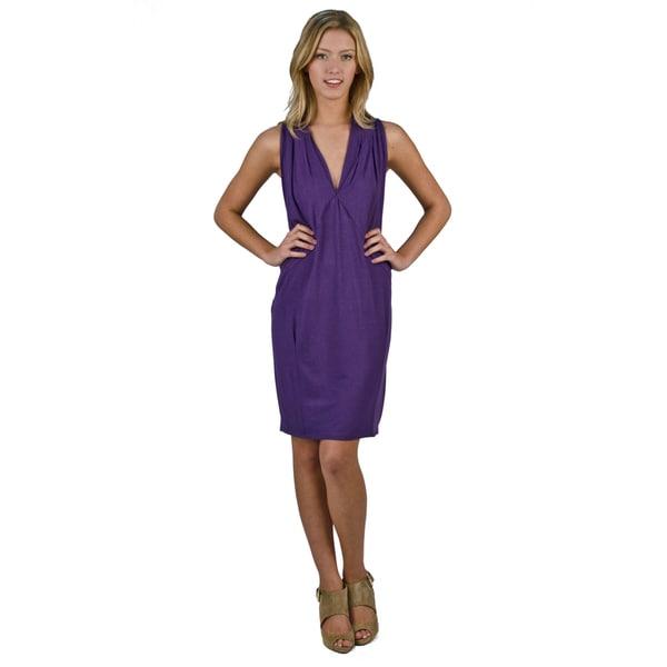 AtoZ Women's 'Runway' Grape V-neck Sleeveless Dress