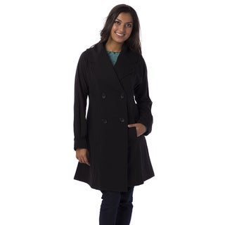 AtoZ Women's Long Princess Seam Double-breasted Button-up Coat