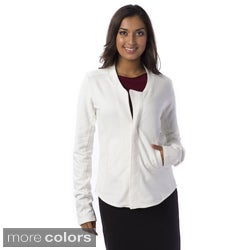 AtoZ 100-percent Cotton Motorcycle Jacket Women's Zip-front Sweater