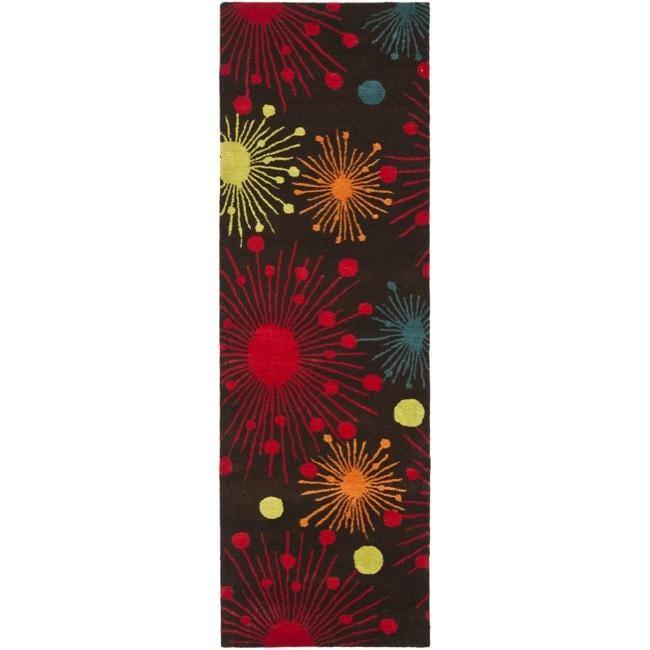 Safavieh Handmade New Zealand Wool Cosmos Brown Rug (2'6 x 8')