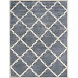 Alliyah Handmade Bluish-Grey New Zealand Blend Wool Rug (10' x 12')