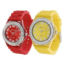 Geneva Platinum Women's Rhinestone-Accented Red/Yellow Silicone Watch (Set of 2)