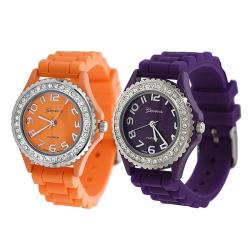 Geneva Platinum Women's Rhinestone-Accented Orange/Plum Silicone Watch (Set of 2)