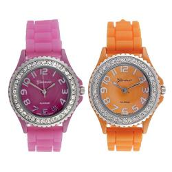 Geneva Platinum Women's Rhinestone-Accented Pink/Orange Silicone Watch (Set of 2)