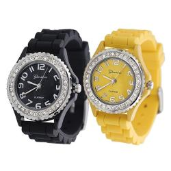 Geneva Platinum Women's Rhinestone-Accented Black/Yellow Silicone Watch (Set of 2)