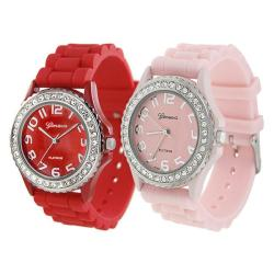 Geneva Platinum Women's Rhinestone-Accented Red/Pink Silicone Watch (Set of 2)