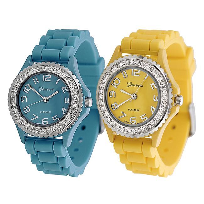 Geneva Platinum Women's Rhinestone-Accented Light Blue/Yellow Silicone Watch (Set of 2)