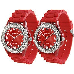 Geneva Platinum Women's Rhinestone-Accented Red Silicone Watch (Set of 2)