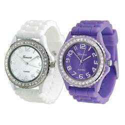 Geneva Platinum Women's Rhinestone-Accented Lavender/White Silicone Watch (Set of 2)