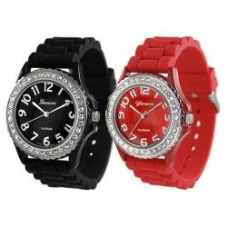 Geneva Platinum Women's Rhinestone-Accented Black/Red Silicone Watch (Set of 2)