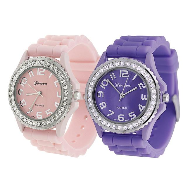 Geneva Platinum Women's Rhinestone-Accented Lavender/Light Pink Silicone Watch (Set of 2)