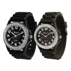 Geneva Platinum Women's Rhinestone-Accented Black Silicone Watch (Set of 2)