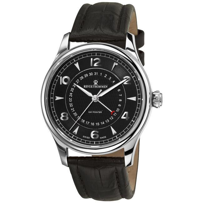 Revue Thommen Men's 10012.2537 'Date Pointer' Black Face Automatic Watch