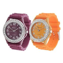 Geneva Platinum Women's Rhinestone-Accented Berry/Melon Silicone Watch (Set of 2)