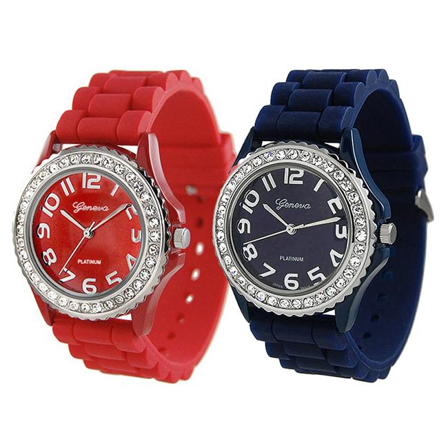 Geneva Platinum Women's Rhinestone-Accented Blue/Red Silicone Watch (Set of 2)
