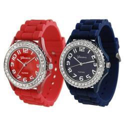 Geneva Platinum Women's Rhinestone-Accented Blue/Red Silicone Watch (Set of 2)