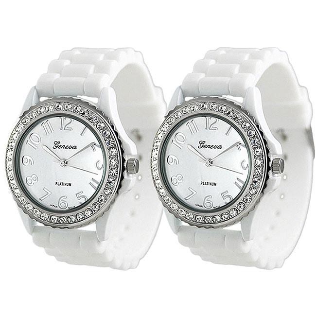 Geneva Platinum Women's Rhinestone-Accented White Silicone Watch (Set of 2)