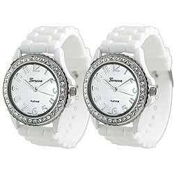 Geneva Platinum Women's Rhinestone-Accented White Silicone Watch (Set of 2)