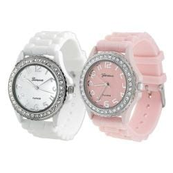 Geneva Platinum Women's Rhinestone-Accented White/Pink Silicone Watch (Set of 2)