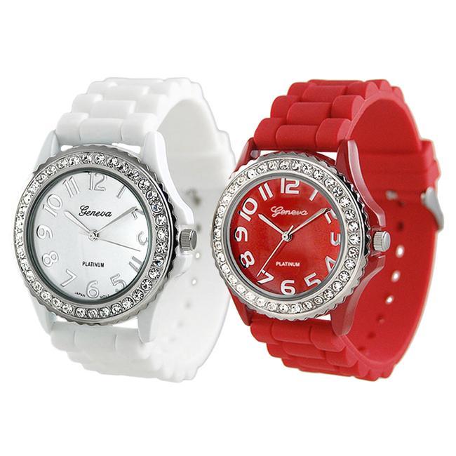 Geneva Platinum Women's Rhinestone-Accented Red/White Silicone Watch (Set of 2)