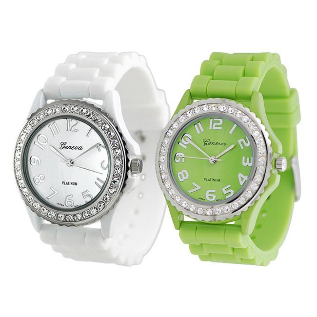 Geneva Platinum Women's Rhinestone-Accented Lime/White Silicone Watch (Set of 2)
