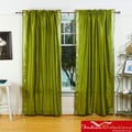 Olive Green Sheer Sari 84-inch Rod Pocket Curtain Panels (India)