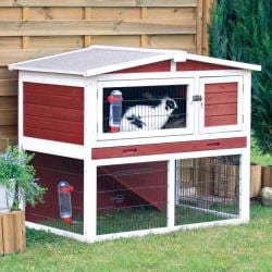 Rabbit Hutch with Peaked Roof (M), Red/White
