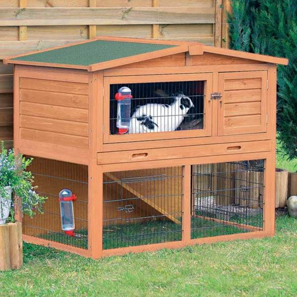 TRIXIE Pet Products Glazed Pine Wood Rabbit Hutch with Peaked Roof (M) 8313259