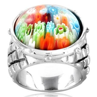 West Coast Jewelry Stainless Steel Multi-colored Glass Ring