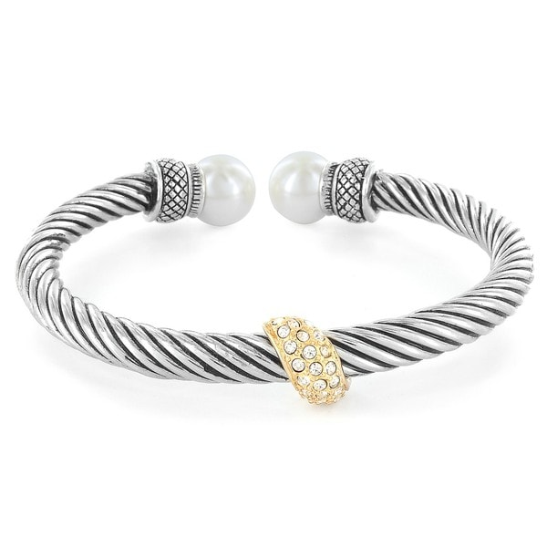 West Coast Jewelry Silverplated Created Pearl Cable Cuff Bracelet