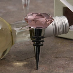 Murano Pink Facet and Stainless Steel Bottle Stopper
