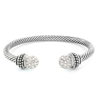 Silvertone Crystal Cable Cuff Bracelet