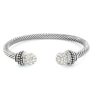 West Coast Jewelry Silvertone Crystal Cable Cuff Bracelet