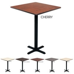 Regency Bar-high Lunchroom 36-inch Square Table with Black Metal Base