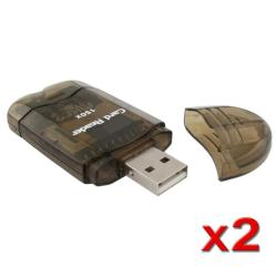 Smoke Colored Memory Card Reader to USB 2.0 Adapter (Pack of 2)