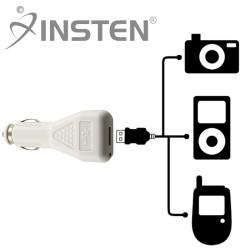 INSTEN White Premium USB Car Charger for Apple
