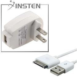 White USB Cable/Compact Travel Charger Adapter for Apple iPhone