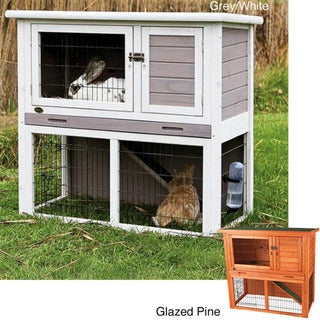 Trixie Natura White Two-story Plastic Rabbit Hutch with Enclosure