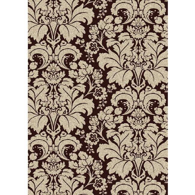 Brilliance Damask Brown Area Rug 7 39 9 X 11 39 Overstock Shopping
