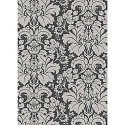 Brilliance Damask Grey Area Rug (7'9 x 11')