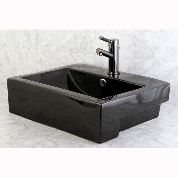Black Bathroom Sink : Concord Black Vitreous China Recess Table/ Wall Mount Bathroom Sink ...