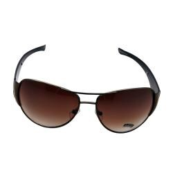 Women's Brown Metal Aviator Sunglasses