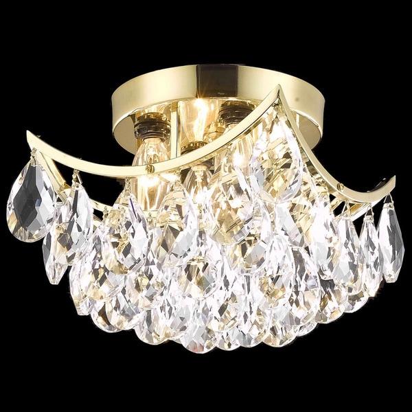 Somette Flush-Mount Gold/Crystal Four-Light Chandelier
