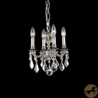 Christopher Knight Home Crystal 4-light Pewter Chandelier