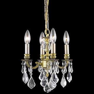 Somette Crystal 4-light Antique Bronze Chandelier