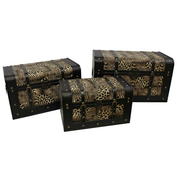 International Caravan Set of 3 Animal Print Trunks with Latches