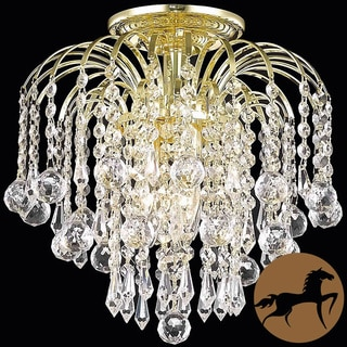 Christopher Knight Home Clear Crystal Three-Light Gold Chandelier